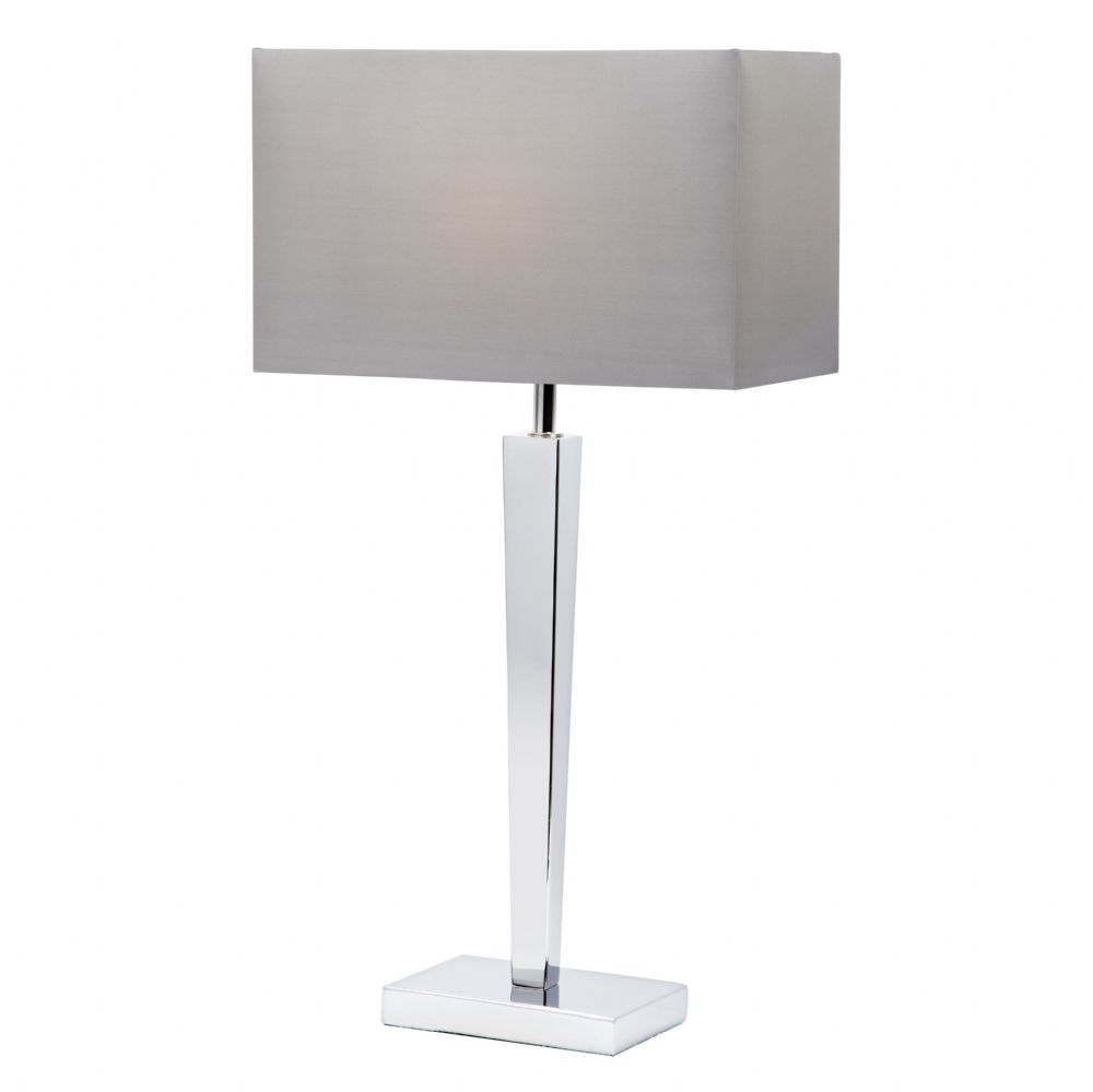 Chrome Table Lamp With Faux Silk Shade BXMORETO-17 (Class 2 Double Insulated)